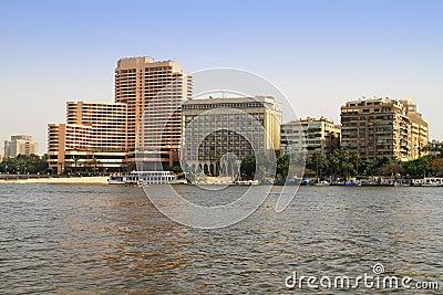 De rivierlandschap van Nijl in Kaïro, Egypte