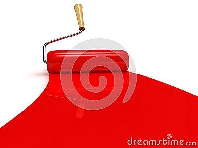 De rol van de verf en rode verfstreep stock fotografie afbeelding 25069252 - Maken rode verf ...