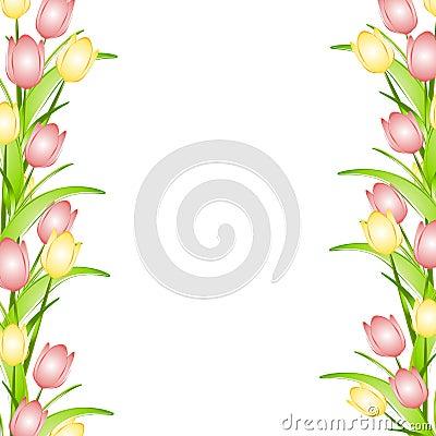 De roze Gele Grens van de Bloem van de Tulpen van de Lente