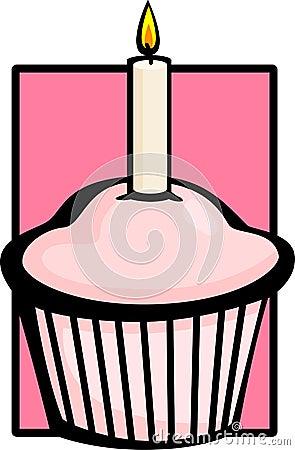 De roze muffin van de verjaardag met kaars