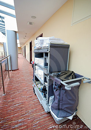De ruimte schoonmakend karretje van het hotel