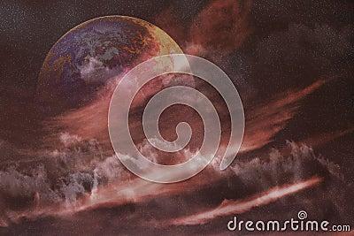 De ruimtenevel van de planeet