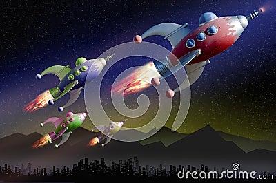 De ruimtepatrouille van de exploratie