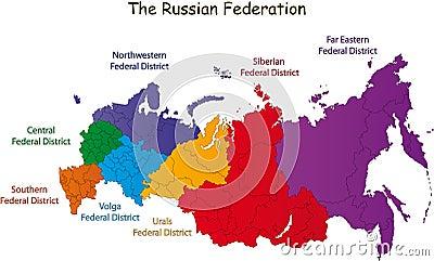 De Russische kaart van de Federatie