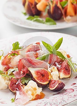 De salade van Prosciuttodi Parma