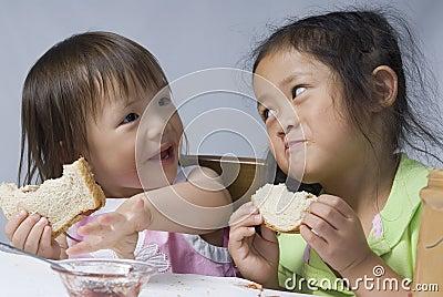 De Sandwiches van de Pindakaas