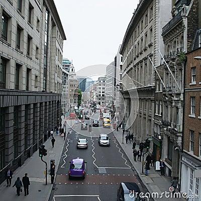 De scène van de de stadsstraat van Londen
