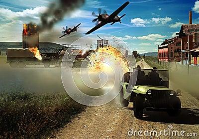 De scène van de tweede wereldoorlog