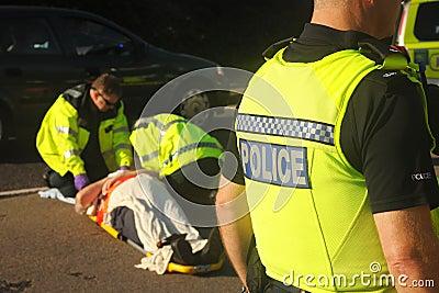 De scène van het ongeval Redactionele Foto