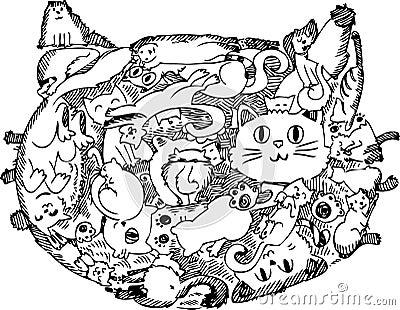 De schetsmatige krabbel van het kattengezicht