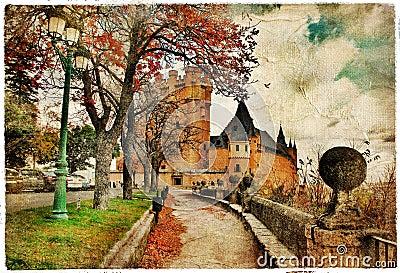 De schilder herfst in Spanje
