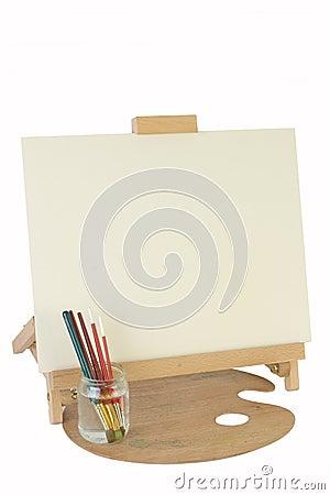 De schildersezel & het canvas van de lijst