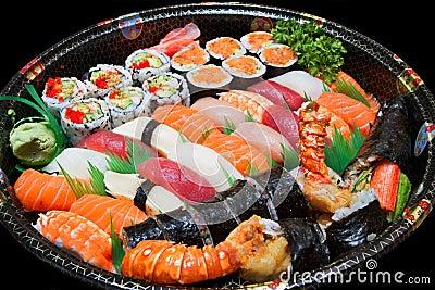 De Schotel van sushi