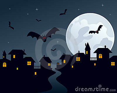 De Scène van de Stad van de Nacht van Halloween