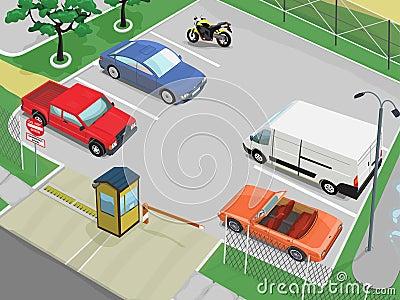 De scène van het parkeren