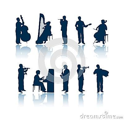 De silhouetten van de musicus