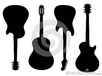 De silhouetten van gitaren