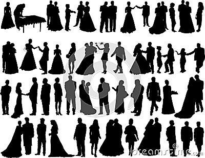 De silhouetten van het huwelijk