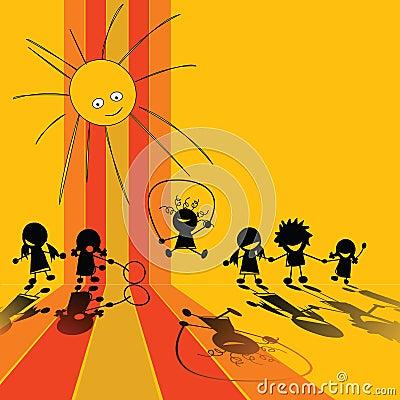 De silhouetten van kinderen