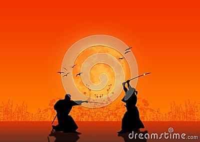 De Silhouetten van samoeraien