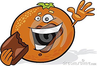 De sinaasappel van het beeldverhaal eet chocolade