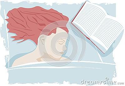 De slaap van de vrouw op bed met boek