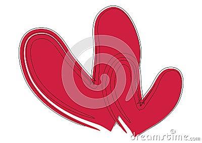 De harten van de borstelslag - vector
