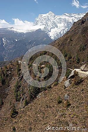 De sleep van de berg in Himalayagebergte, Nepal