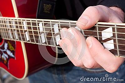De Snaar van de Speler van de gitaar