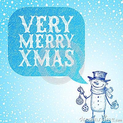 De sneeuwman met vakantiesnuisterijen wenst u geluk wi