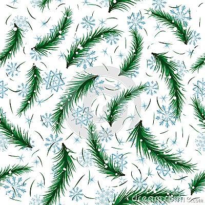 De sneeuwvlok van de winter en het naadloze patroon van de sparbrunch.