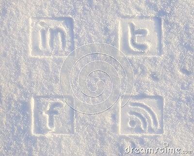 De sociale Pictogrammen van Media in Sneeuw Redactionele Stock Foto