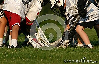 De spelers van de lacrosse