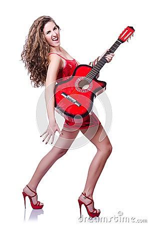 De spelervrouw van de gitaar