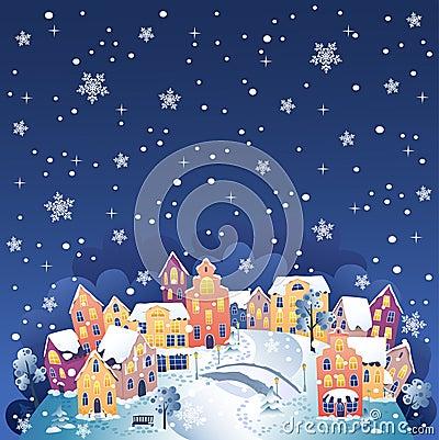 De stad van de winter bij nacht