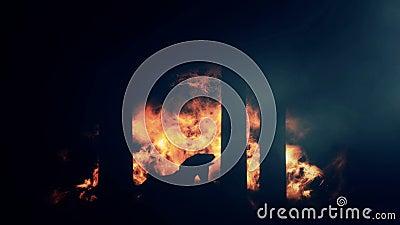 De Stad van Troy Burning en een Paard van Troje op Vlammenachtergrond royalty-vrije illustratie