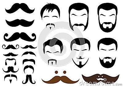 De stijlen van de snor en van de baard,
