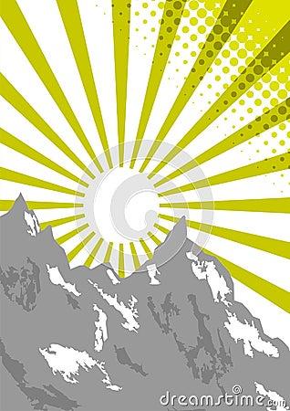 De straal van de zon op bergbovenkant