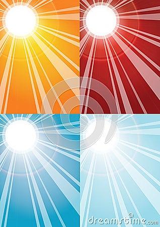 De stralenachtergronden van de zon