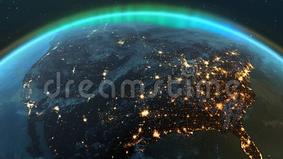 De streek van aardeamerika met nacht en zonsopgang
