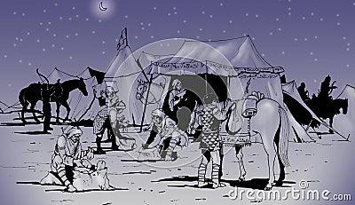 De strijders die van Berber voor een lange reis voorbereidingen treffen