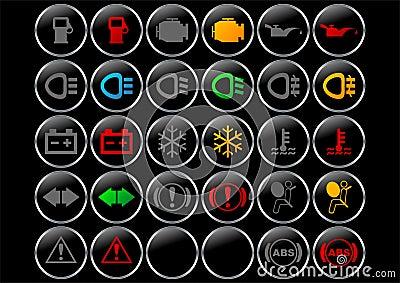 De symbolen van het dashboard