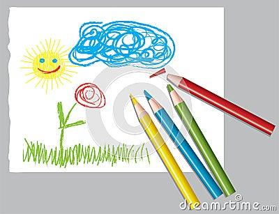 De tekening en de kleurpotloden van het kind