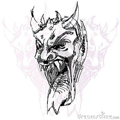 De Tekening van het Gezicht van de demon