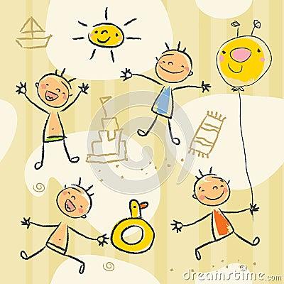 De tekenings naadloos patroon van kinderen. Leuke jonge geitjes die op ...