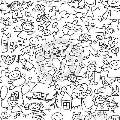De tekening van kinderen - naadloos patroon