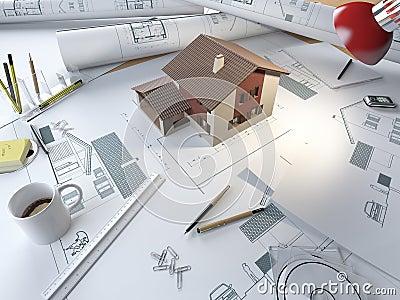 De tekeningslijst van de architect met 3d model