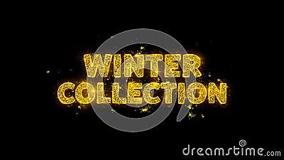De Tekst van de Inzameling van de winter reservedeeltjes op Zwarte Achtergrond stock videobeelden