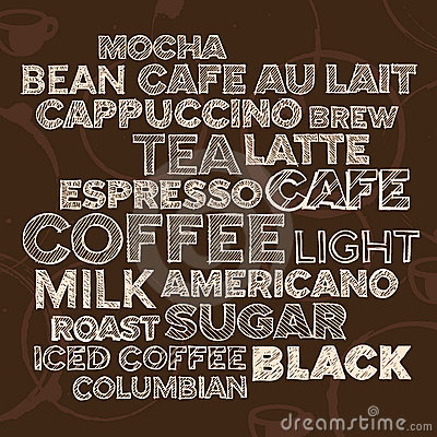 De tekstelementen van de koffie