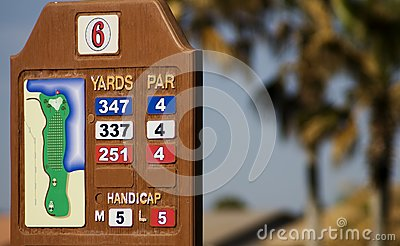 De Lengte in yardsteller van de golfcursus
